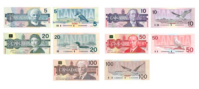 Billetes del dólar canadiense